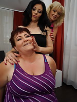 Three naughty housewives go full on lesbian
